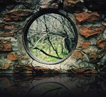 Circular window in ruins