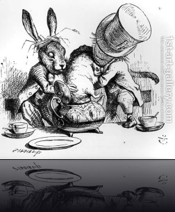 The-Mad-Hatter-And-The-March-Hare-Putting-The-Dormouse-In-The-Teapot,-Illustration-From-Alices-Adventures-In-Wonderland,-By-Lewis-Carroll,-1865
